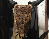 Beautiful Hand Carved Steer/ Cow Skull with Horns/ Bull/ Longhorns/ Antique Buffalo Taxidermy