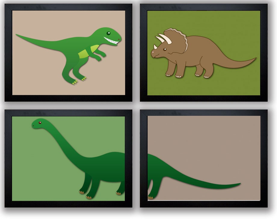 Dinosaurs Dinosaur Kids Children Art Set of 4 Prints Boys Art Nursery Art Nursery Print Green and Br