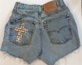 Studded Cross High Waisted Shorts
