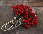 Sale 10 % off Red Coral Cluster Earrings • Sterling Silver  Earrings • Christmas earrings • ewalompe • gift for best friend