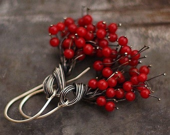 Red Coral Cluster Earrings • Sterling Silver  Earrings • gift  for best friend