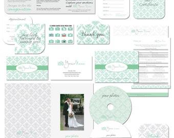 SALE Photography marketing branding kit damask style editable templates photography logo branding set
