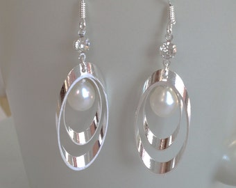 Silver and Pearl Earrings - 6-7 mm White Freshwater Pearl Dangle Earrings, Bridemaid earrings, fresh water pearl, JEW000075