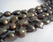 Cultured Freshwater Pearl Beads Olive Olivine Baroque 11x12-16mm 15 inch Strand S2919