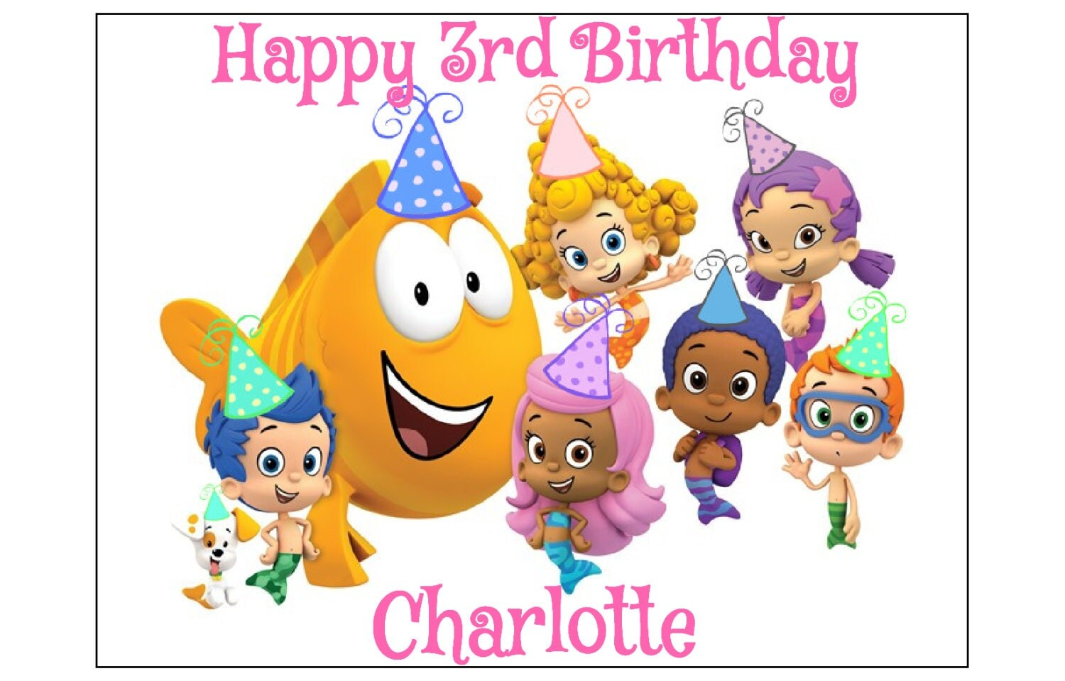 Happy Birthday Cake With Bubble Guppies
