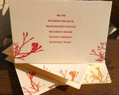 We hunger love stronger, a set of four letterpress poetry cards