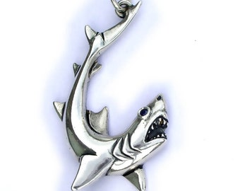 Shark necklace , silver and sapphire pendant.