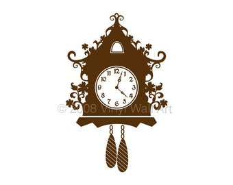 Cuckoo Clock Vinyl Decal size MEDIUM, Clock, Home decor, Office Decal,