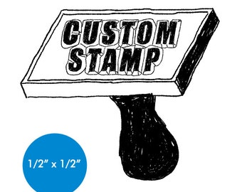 "CUSTOM Rubber Stamp - 0.5"" x 0.5"" - Logo, Business, Promotion Stamp .5x.5"