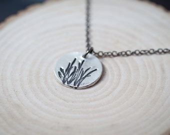 Sprigs - Grass Necklace Nature Silver Necklace Circle Grass Pendant