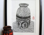 "BLOCK PRINT - Black & White West German Vase - Mid Century Modern Fat Lava Vase Print 10x13"" - Ready to Ship"