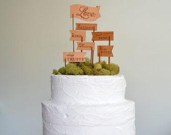 Love is Patient, Love is Kind Keepsake Wooden Cake Topper