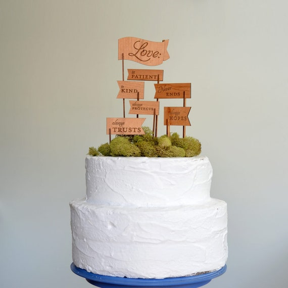 Love is Patient, Love is Kind Keepsake Wooden Cake Topper