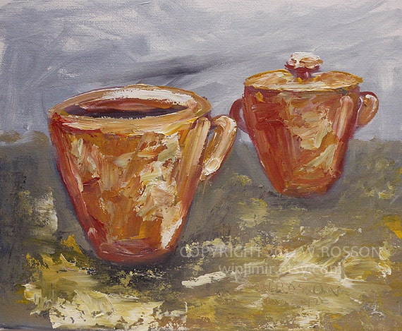 Coffee, Cup, Orange, Sugar Dish, Pottery, Original Painting, Cafe, Kitchen Art, Holiday, Birthday, Chef, Gift, Espresso, Drinks, Winjimir.