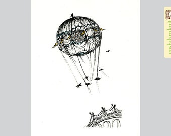 Bridges and Balloons Original Gocco Print 8x10 . Hot Air Balloon . Birds