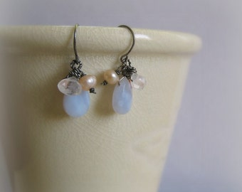 Pearl Coral White Moonstone and Periwinkle Blue Lace Agate Sterling Silver Earrings