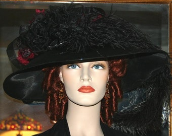 Kentucky Derby Hat Edwardian Dowton Abbey Tea Hat - Run for the Roses