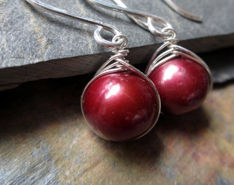 Enchanted Earrings - Red Cranberry Pearls, Sterling Silver