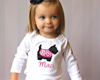 Personalized Bodysuit or Toddler Shirt Scotty Puppy Dog Applique for Baby Girls
