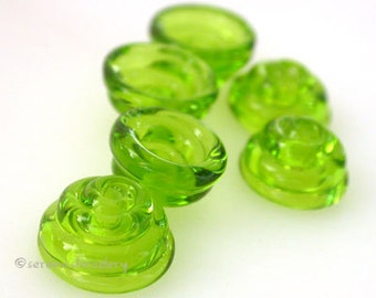 Lampwork Glass Bead Cone Caps GRASS GREEN Gossy or Matte Handmade - taneres