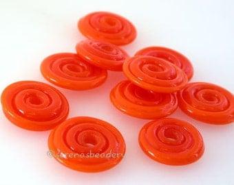 Lampwork glass Beads CARROT RED Wavy Spinner Discs Handmade - taneres
