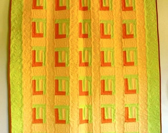 Patchwork Quilt Eco Wool in Pumpkin Squash Orange Chartreuse Green