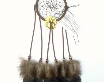 Chocolate Brown Dream Catcher, Bronze Turkey Flat Feathers