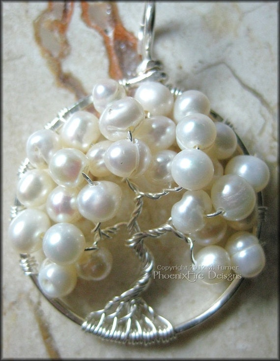 June Tree - Freshwater Pearls In Sterling Silver Tree of Life Pendant (June Birthstone) Wire Wrapped Bridal