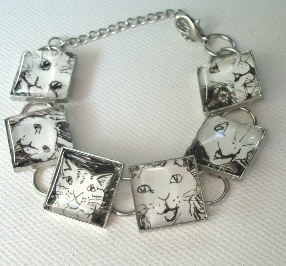 One of a Kind Hand Drawn Kitty Bracelet - Cat Faces