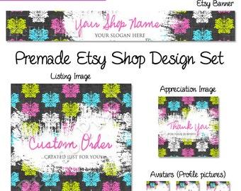 Damask Etsy Banner Set, Rustic Shop Cover Photo, Vintage Etsy Banner, Fabric Etsy Banner, Pink Shop Banner