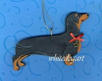 Handpainted Black and Tan Dachshund Christmas Ornament