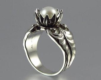 WHITE LOTUS pearl 14k white gold ring