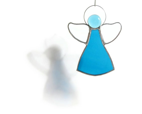 RESERVED FOR GIANNABIO Blue Angel Stained Glass Suncatcher