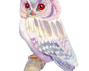 Pink and Purple Owl art print - archival fine art - watercolor painting nature reproduction