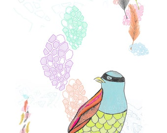 Feathery Hussy Fowl print (bird, feathers, honeycombs, bright)