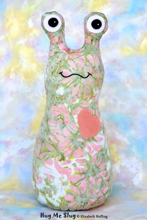 Handmade Slug, Stuffed Animal Cloth Doll Art Toy, Hug Me Slug, Personalized Hang Tag, Soft Green Batik and Coral, 12 inch, Ready-made