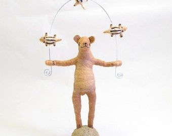 Spun Cotton Vintage Style Woodland Circus Chipmunk Juggling Bear Figure
