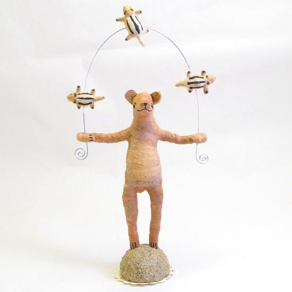 Spun Cotton Vintage Style Woodland Circus Chipmunk Juggling Bear