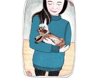 Art Print - Illustration Print - Portrait Art - Portrait Print - Baby Goat Print - Girl with Goat Print - 8x10 Print - Baby Goat Friend