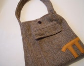 Brown tweed purse with pi math geek nerd upcycled suitcoat