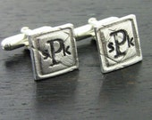 Men's Monogrammed Anniversary Wedding Christian Sterling Silver Cuff Links - Personalized, Life Verse - LIFE of LOVE Collection