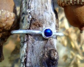 SALE Ring sweet little iridescent peacock blue stone in eco friendly solid silver - Custom Made in your Size - 3mm cabochon