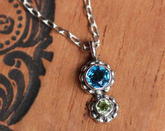Multi gemstone necklace, blue topaz, green peridot, birthstone necklace, mothers necklace, recycled sterling silver, crush duo ready to ship