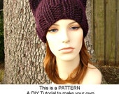 Instant Download Knitting Pattern - Knit Hat Knitting Pattern - Knit Hat Pattern - Cat Beanie Hat Pattern - Womens Hat - Womens