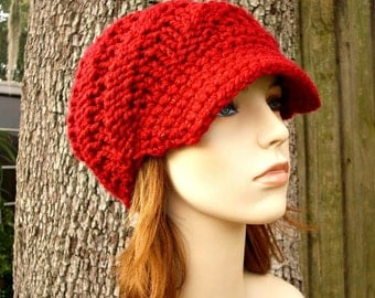 Knit Hat Red Womens Hat Red Newsboy Hat - Swirl Beanie with Visor - Poinsettia Metallic Red Knit Hat - Red Hat Red Beanie Womens Accessories