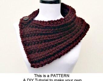 Instant Download Knitting Pattern PDF - Knit Cowl Scarf Knitting Pattern PDF for Elspeth Cowl Scarf - Neckwarmer Pattern Womens