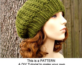 Instant Download Knitting Pattern - Knit Hat Knitting Pattern - Knit Hat Pattern for Soho Beret - Womens Hat - Womens Accessories
