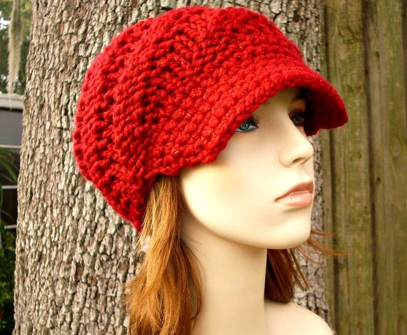a45cfdbb9f6 Knit Hat Red Womens Hat Red Newsboy Hat Swirl Beanie with