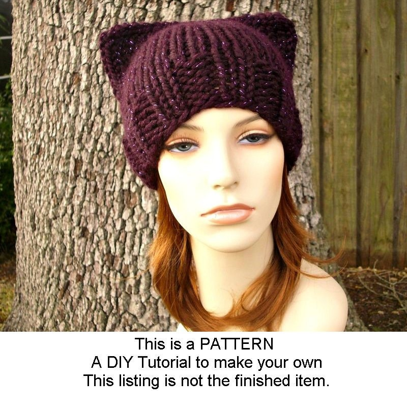 Knitting Pattern For Cat In The Hat : Instant Download Knitting Pattern Knit Hat Knitting Pattern