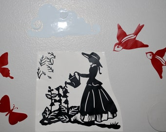 Mary Quite Contrary Silhouette Scene Birds Butterflies Cloud Flowers Home and Garden Wall Decal Room Decor